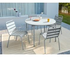 Garten Essgruppe Metall MIRMANDE - Tisch D. 110 cm & 4 Stühle - Grau