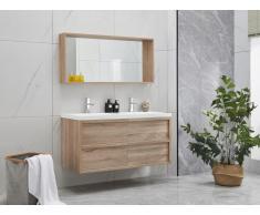 Komplettbad mit Doppelwaschbecken & Spiegel QUADRA - Holz-Optik - B. 120 cm