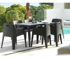 Essgruppe Polypropylen SOROCA: Esstisch + 6 Stühle