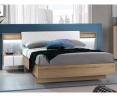 Polsterbett mit 2 LED-Nachttischen CONSCIENCE - 160x200cm - Eichholzfarben