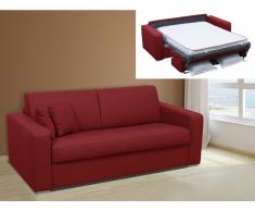 Schlafsofa 2-Sitzer EMIR II - Kunstleder - Rot - Liegefläche: 120 cm - Matratzenhöhe: 14 cm