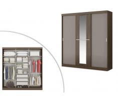 Kleiderschrank Didda - 3 Schiebetüren - Braun und Taupe