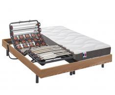 Matratzen-Elektrischer Lattenrost-Set Federleisten & Modulteller 100% Latex 5 Zonen MENELAS - Eichenholzfarben - 2x80x200 cm