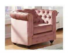 Chesterfield Sessel Samt ANNA - Rosa