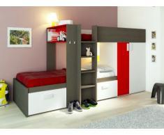 Kinderbett Hochbett Etagenbett Julien - 2x90x190cm - Taupe & Rot
