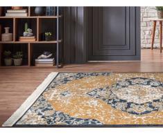 Teppich orientalisch mit Fransen MINGUN - 200 x 290 cm - Gelb & Blau