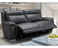 Relaxsofa Leder elektrisch 3-Sitzer Paosa - Anthrazit mit hellgrauer Ziernaht