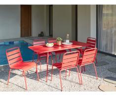 Garten Essgruppe Metall MIRMANDE - Tisch L. 160 cm & 6 Stühle - Rot