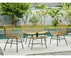 Garten Sitzgruppe Polyrattan NICOYA: 2-Sitzer-Sofa, 2 Sessel + Loungetisch