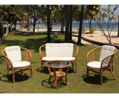 Garten Sitzgruppe Polyrattan GIBARA - Sofa, 2 Sessel & Beistelltisch