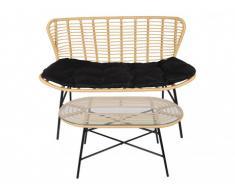 Garten 2-Sitzer-Sofa + Loungetisch Polyrattan NICOYA