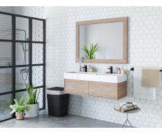 Komplettbad mit Doppelwaschbecken & großem Spiegel VALENTINA - Eichefarben