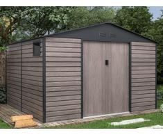Gartenhaus Gerätehaus ADELMO - Stahl - Holz-Optik - 10,98 m²