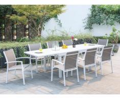 Garten Essgruppe PAHOA - Ausziehbarer Tisch & 8 Stühle - Weiß