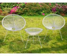 Garten Sitzgruppe Polyrattan Alios - Weiß