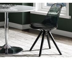 Stuhl 2er-Set LOVA - Polycarbonat - Schwarz Transparent