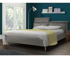 Bett mit Kopfstützen Stoff ASTERIA - 160x200 cm - Grau