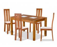 Essgruppe DOMINGO: Tisch + 4 Stühle - Eichefarben