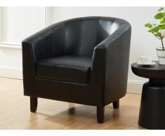 Lounge-Sessel CRISTOBAL - Kunstleder - Schwarz