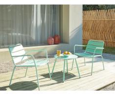Garten Sitzgruppe Metall MIRMANDE - 2 Sessel & Beistelltisch - Grün