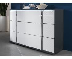 Kommode mit LED-Beleuchtung CONSCIENCE - 3 Schubladen - Weiß/Grau