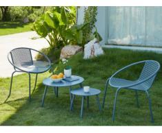 Garten Sitzgruppe Metall NAJAC - 2 Sessel & 2 Beistelltische - Anthrazit