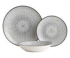 Tafelservice Porzellan OSIS von SIA - 18-teilig - Weiß & Schwarz