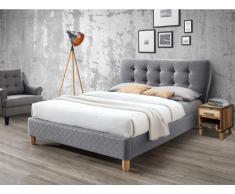 Polsterbett ELIDE - Stoff - 140 x 190 cm - Grau