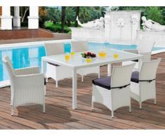 Polyrattan Essgruppe Alanda: Tisch + 2 Sessel + 4 Stühle - Weiß & Grau