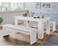 Essgruppe Digory: 1 Tisch & 2 Bänke - Weiß