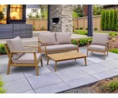Garten Sitzgruppe Holz AMARIA: 2-Sitzer-Sofa, 2 Sessel & Couchtisch