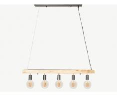Hängeleuchte mit 5 Strahlern Industrial Stil JULBO - Holz & Metall - H17,5 x B100 cm
