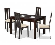 Essgruppe DOMINGO: Tisch + 4 Stühle - Wenge