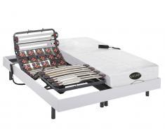 Matratzen elektrischer Lattenrost 2er-Set Memory Schaum DAMYSOS - OKIN-Motoren - Weiß - 2x90x200 cm
