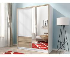 Kleiderschrank mit Spiegel SISKO - 1 Schiebetür & 2 Schubladen - B: 154 cm - Weiß & Eiche