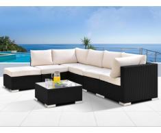 Polyrattan Lounge Sitzgruppe Alanda mit Gartentisch (7-tlg.) - Anthrazit & Beige