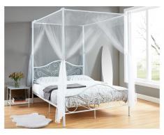 Metallbett Himmelbett LEYNA - 140x190cm - Weiß