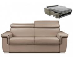 Schlafsofa 3-Sitzer ALTESSE - Taupe mit Ziernaht Braun - Liegefläche: 140cm - Matratzenhöhe: 18cm