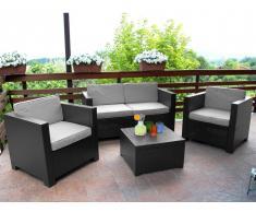 Garten Sitzgruppe Kunstharz SOPHIE II: 2-Sitzer-Sofa, 2 Sessel + Couchtisch