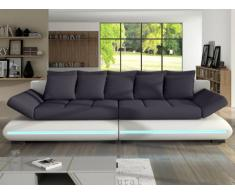 Schlafsofa Big Sofa Stoff LED-Leiste Mattias - Weiß&Grau