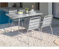 Garten Essgruppe Metall MIRMANDE - Tisch L. 160 cm & 4 Stühle - Grau