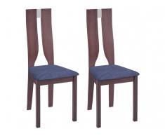 Stuhl 2er-Set SILVIA - Buche massiv - Nussbaumfarben & Blau
