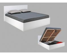 Bett mit Lattenrost & Stauraum Elphege - Weiß - 140x190cm