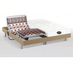 Matratzen elektrischer Lattenrost 2er-Set mit Okin-Motor Lysis III - 2x100x200cm - Eichenholzfarben