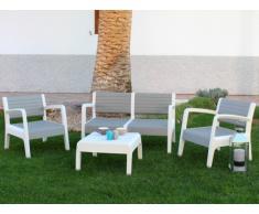 Lounge Sitzgruppe MIAMI (4-tlg.) - Weiß-Grau