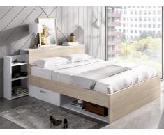 Bett mit Stauraum & Schubladen FLORIAN - 140x190 cm - Weiß & Eiche