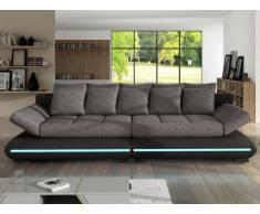Schlafsofa Big Sofa Stoff LED-Leiste Mattias - Schwarz&Grau