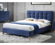 Polsterbett ELIDE - Stoff - 140 x 190 cm - Blau