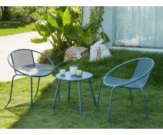 Garten Sitzgruppe Metall NAJAC - 2 Sessel & 1 Beistelltisch - Anthrazit