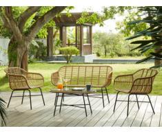 Garten Sitzgruppe Polyrattan NOSARA: 2-Sitzer-Sofa, 2 Sessel + Couchtisch